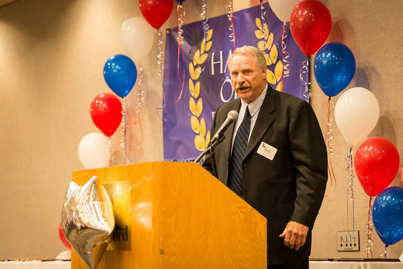Mike Haluchak giving presentation at the 2015 Induction Ceremony